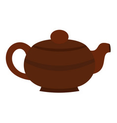 Brown chinese teapot icon isolated vector