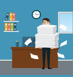 businessman holds pile of office papers and vector image