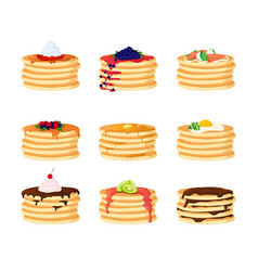 Cartoon color pancakes with different toppings set vector