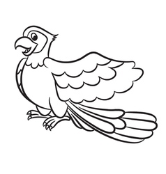 Cartoon cute parrot outlined vector