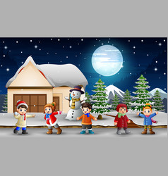 cartoon kids singing in front of the snowing house vector image