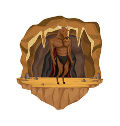 Cave interior scene with minotaur greek vector