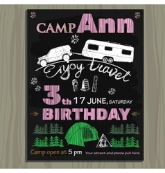 Chalk board invitation for birthday in the camp vector