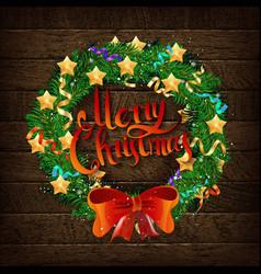 christmas wreath fir branches vector image
