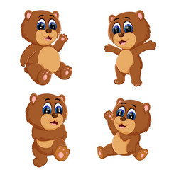 collection of the funny baby bear vector image