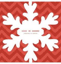Colorful ikat chevron Christmas snowflake vector