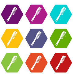Comb icon set color hexahedron vector