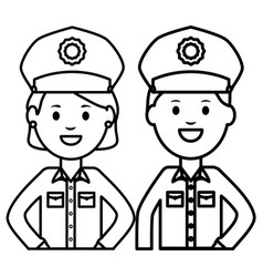couple police officers avatars characters vector image