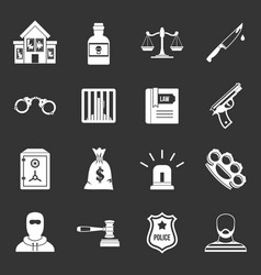 Crime and punishment icons set grey vector