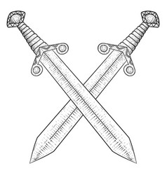 crossed swords hand drawn sketch vector image