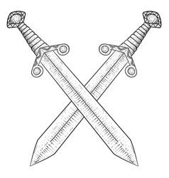 Crossed swords hand drawn sketch vector