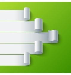 Curled blank paper stripe banners arrow on green vector image