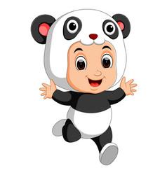 Cute boy cartoon wearing panda costume vector