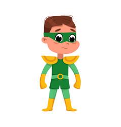 cute boy in green superhero costume adorable kid vector image