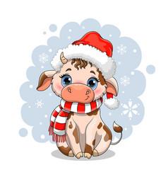 Cute little cartoon cow in winter snow vector