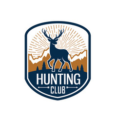 Deer hunting heraldic badge for hunt club design vector