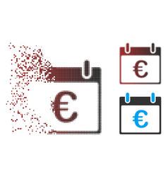 Dispersed pixel halftone euro calendar day icon vector