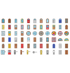 door and window installation icon set filled vector image