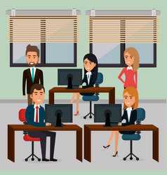 elegant business people in the office scene vector image
