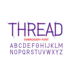 Embroidery font thread vector