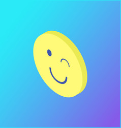 Emoji winking blinking sign isolated icon vector