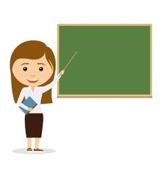 Female teacher on lesson at chalkboard vector