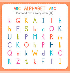 Find and circle every letter k worksheet vector