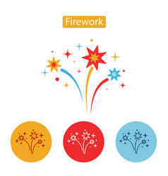 firework flat icon isolated on white background vector image