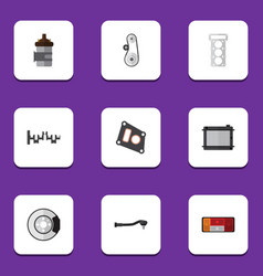 flat icon auto set of cambelt packing absorber vector image