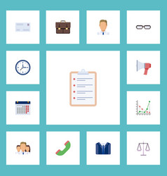 Flat icons costume employee task list and other vector