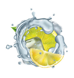 fresh lemon slices in water splash with ice cubes vector image