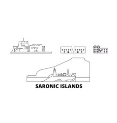 Greece saronic islands line travel skyline set vector