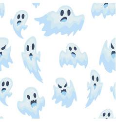 halloween ghost semless pattern vector image