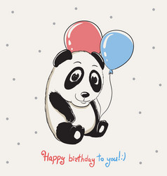 Happy cute panda keeps balloons vector