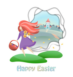 Happy easter card with girl and countryside vector