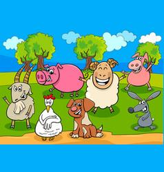 happy farm animals cartoon characters group vector image