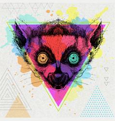 hipster animal lemur on artistic polygon vector image