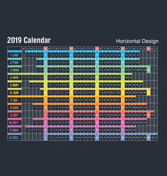 horizontal 2019 calendar designsunday weekend vector image