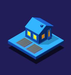isometric rural rustic night farm smart city 3d vector image