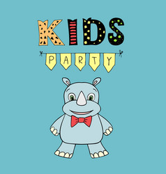 Kids party lettering party with baby rhino vector