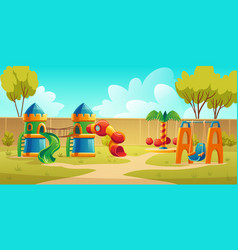 Kids playground in summer park with carousel vector
