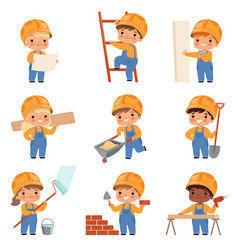Little builders childrens with construction tools vector