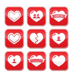 Love hearts buttons set for Valentines Day vector image