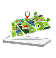 map with cellphone gps application symbol flat vector image