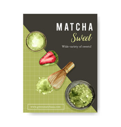 Matcha sweet poster design with daifuku bowl vector