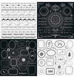 Mix of Black and Chalk Drawing Rustic Design vector image