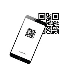 Mobile phone device with scanning icon on it vector