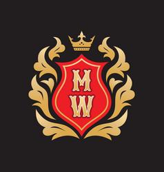 Monogram m w initial letters - concept logo vector