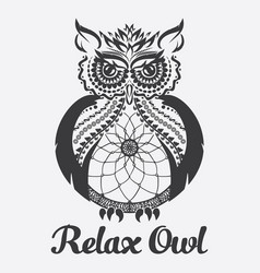 Owl anti stress coloring vector