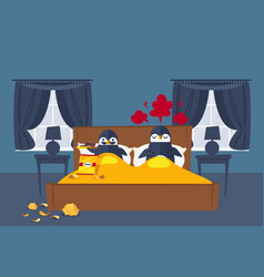 Pair penguins have rest in bedroom vector